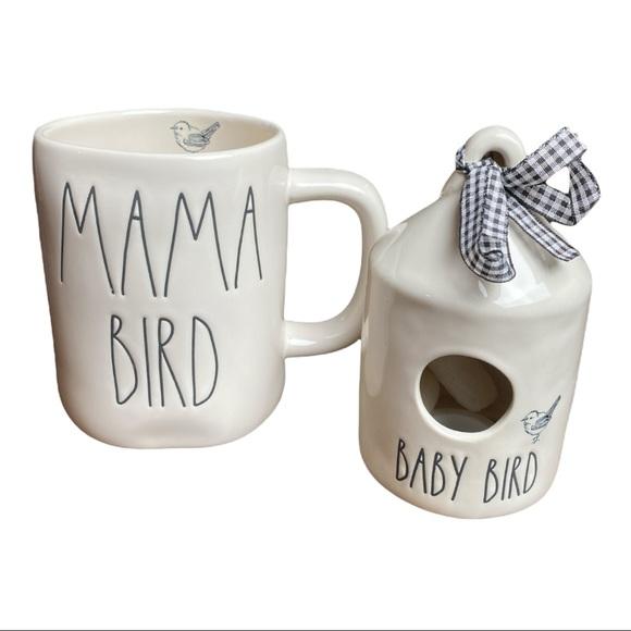 Rae Dunn MAMA BIRD & BABY BIRD set - mug & house